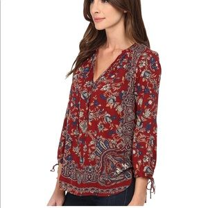 Lucky Brand Red Floral Paisley Tunic Top